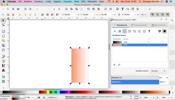 Modifica colore di riempimento Inkscape