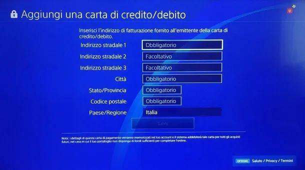Modulo carta di Credito PS4