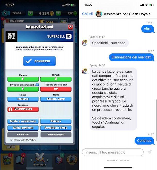 Cancellare Supercell ID da Clash Royale