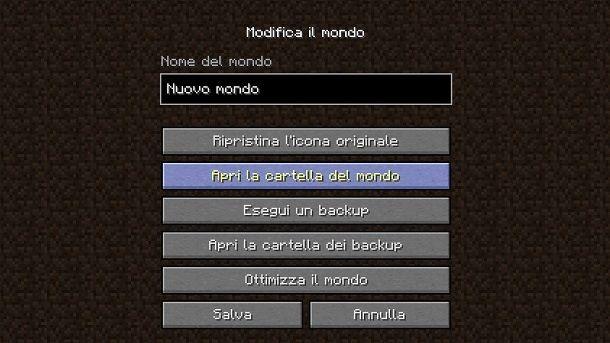Aprire cartella mondo Minecraft