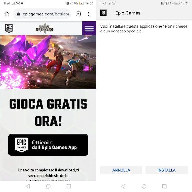 Installare Epic Games App