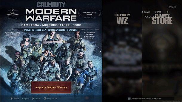 Installare Modern Warfare da Warzone PS4