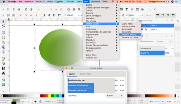 Applicare un'ombreggiatura su Inkscape