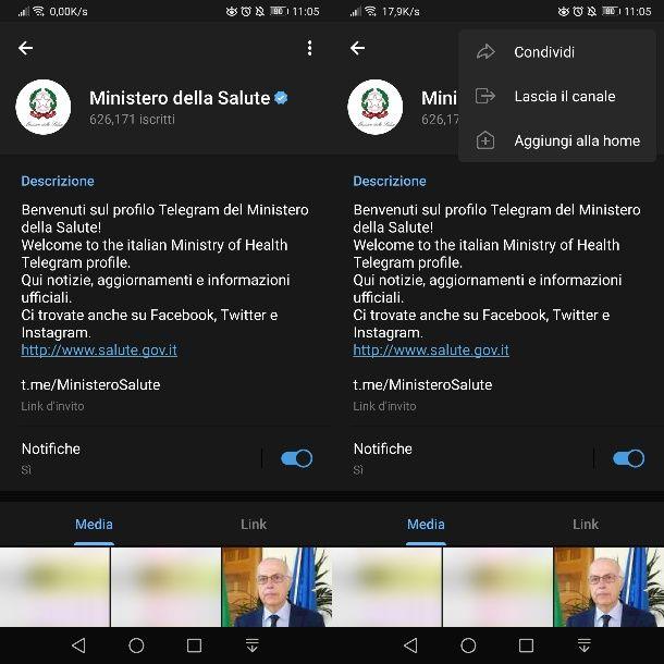 Condividere canale pubblico Telegram su Android