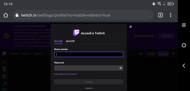 Login Twitch smartphone