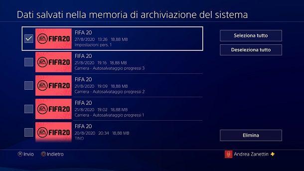 Rimuovi salvataggi PS4