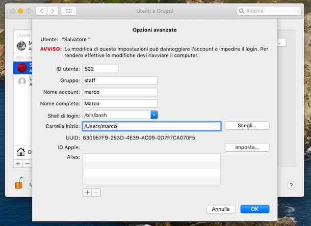 Modifica nome utente Mac