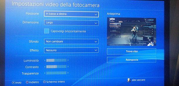Impostazioni webcam live PS4