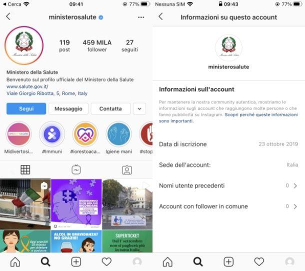 Vedere data creazione di un profilo Instagram altrui