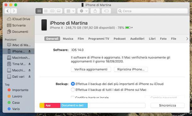 Finder macOS con iPhone