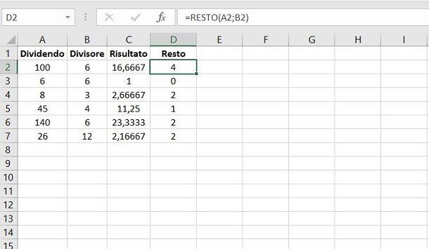 Come fare divisione con resto su Excel