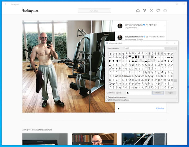 Caratteri speciali Instagram Windows 10