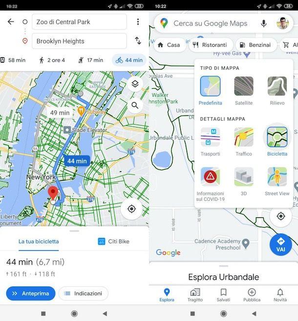 Come impostare bicicletta su Google Maps da smartphone e tablet