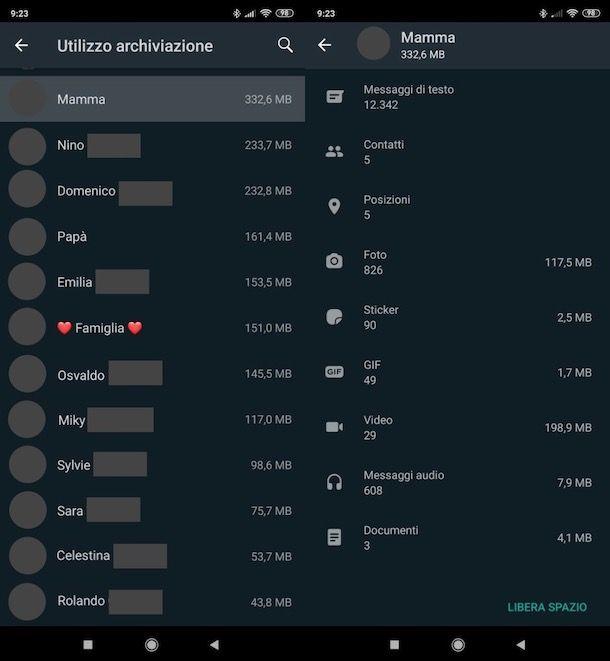 Vedere quanti messaggi ci sono in una chat WhatsApp su Android