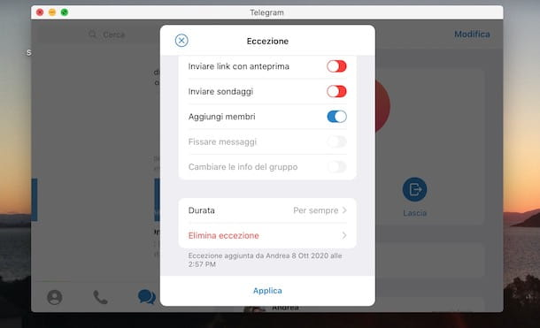 Bannare un utente su un gruppo Telegram da Mac
