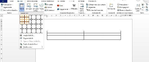 Inserire tabella con Microsoft Word