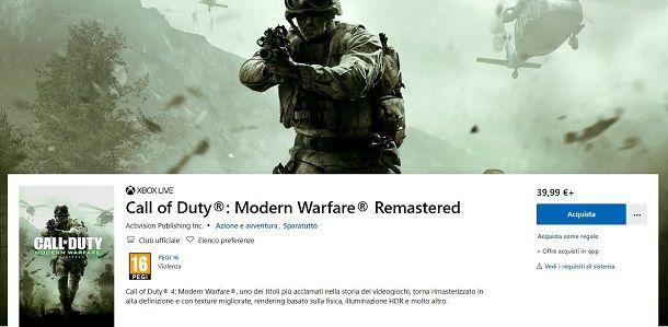Modern Warfare Remastered su Microsoft Store