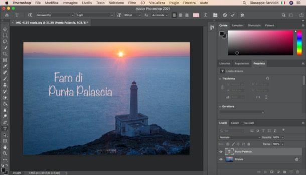 Come scrivere su una foto con Photoshop