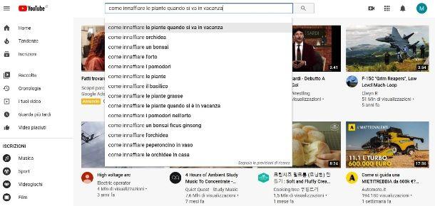 Suggerimenti YouTube per titolo