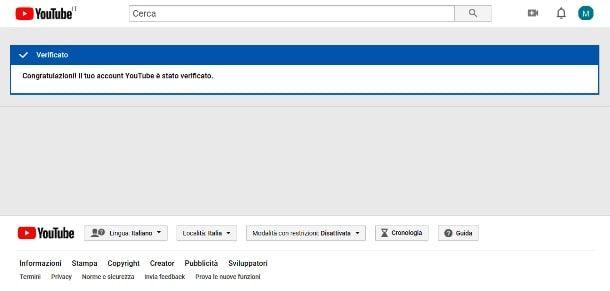Verificare account su YouTube