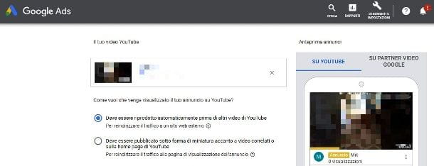 Collocazione video su YouTube