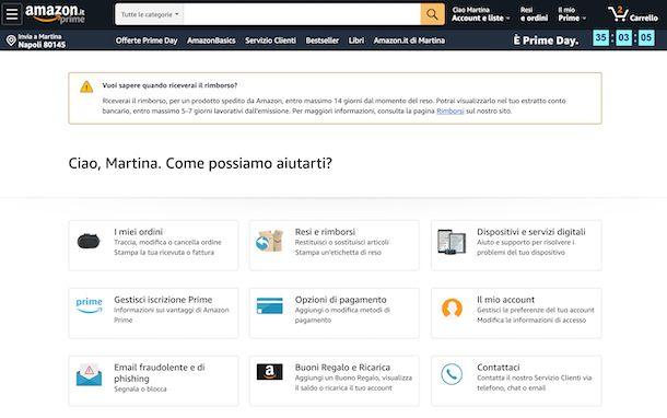 Amazon supporto