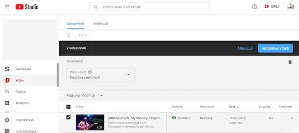 Disattivare commenti su YouTube