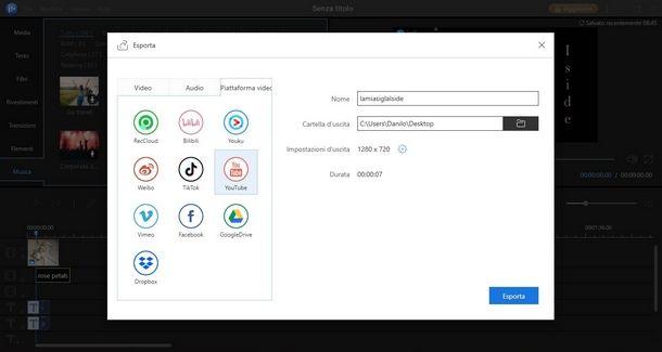 Impostare destinazione del video in EaseUS Video Editor