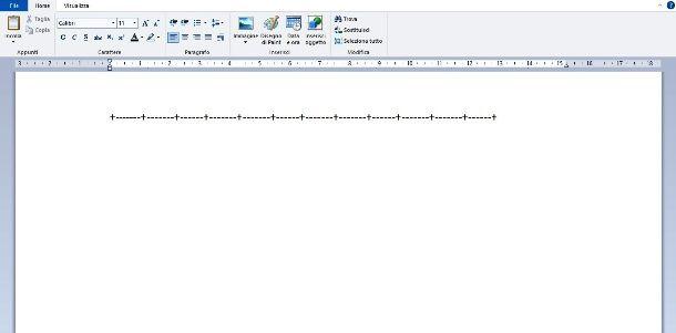 Creare una tabella con WordPad