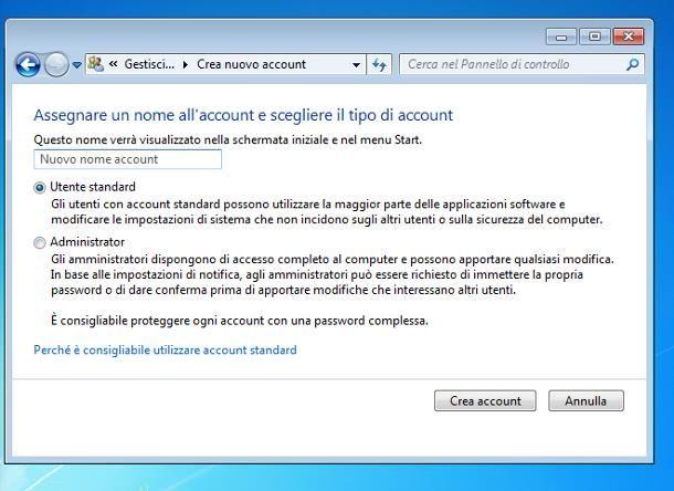 Come creare un altro account sul PC Windows 7