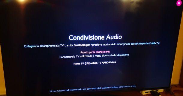 Riproduzione audio tramite Bluetooth da iPhone a TV