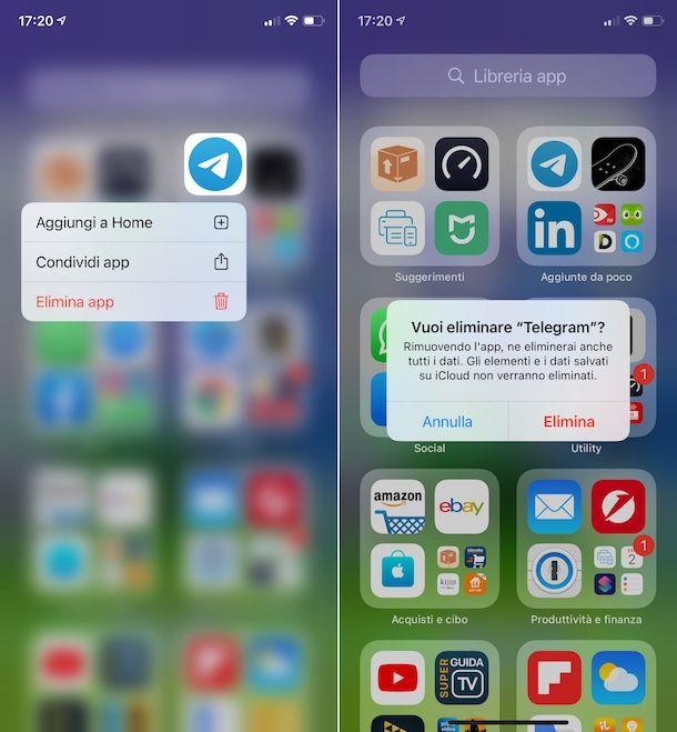 Disinstallare Telegram iOS