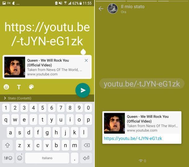YouTube stato WhatsApp Android