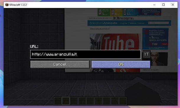 Inserisci URL schermo