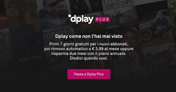 Attivare Dplay Plus da computer