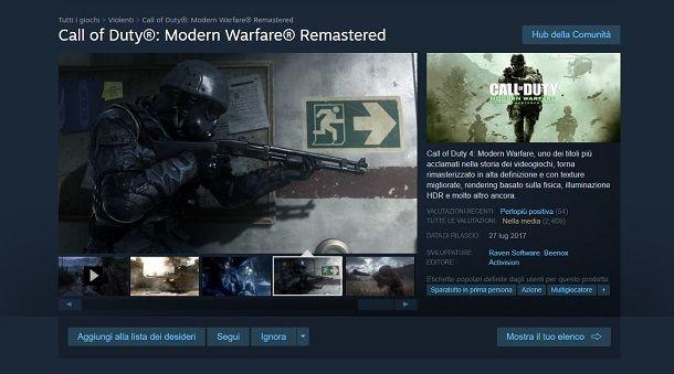 Modern Warfare Remastered su Steam