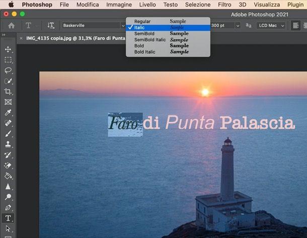Scrivere in corsivo su Photoshop