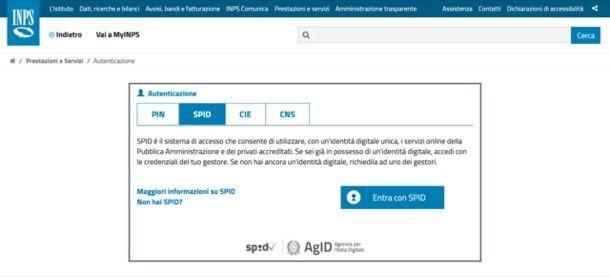 Entrare sul sito dell'INPS con SPID