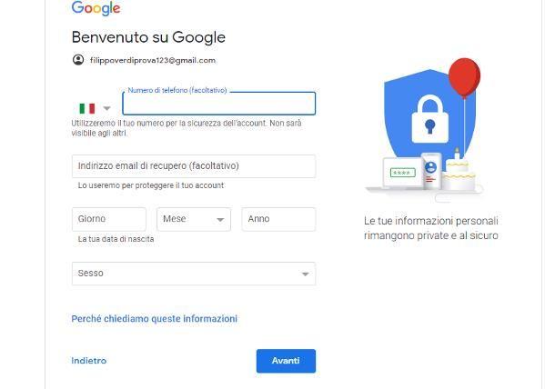 Come creare un account Google senza numero di telefono