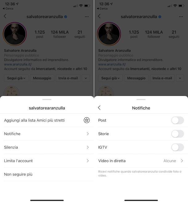 Disattivazione notifiche storie Instagram iPhone