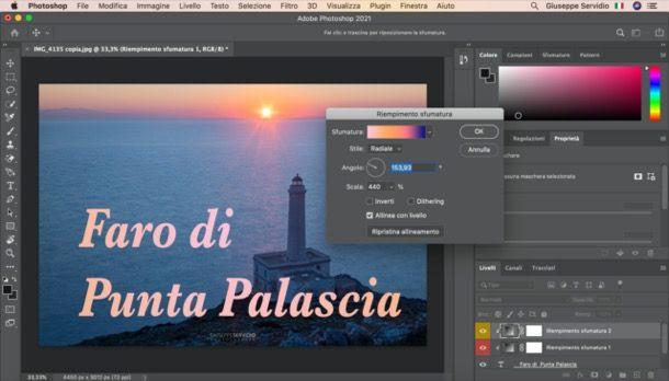Applicare l'effetto sfumatura alle scritte su Photoshop