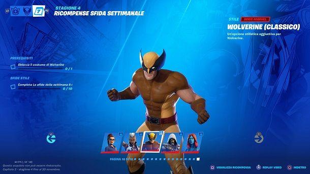 Come sbloccare skin Wolverine classico Fortnite