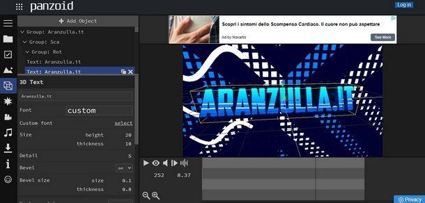 Usare Panzoid per creare una sigla YouTube personale da Web