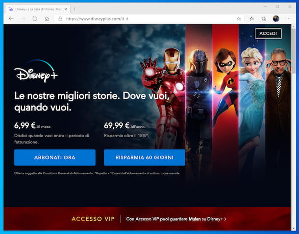 Disney\+ sito Web