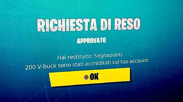 Rimborso Fortnite PS4