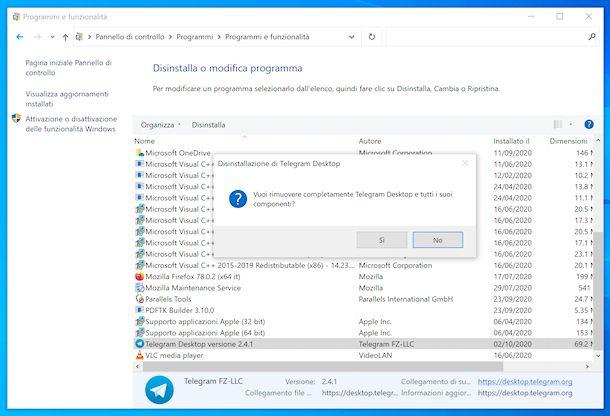Disinstallare Telegram Windows