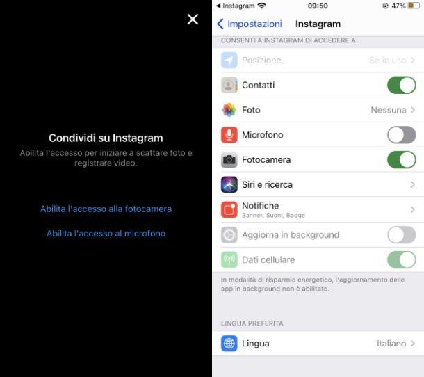Instagram autorizzazione iOS