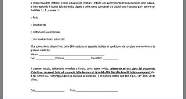 Modulo blocco SIM Iliad