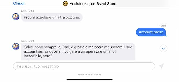 Contattare assistenza Supercell
