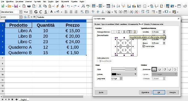 Come creare tabella con LibreOffice Calc